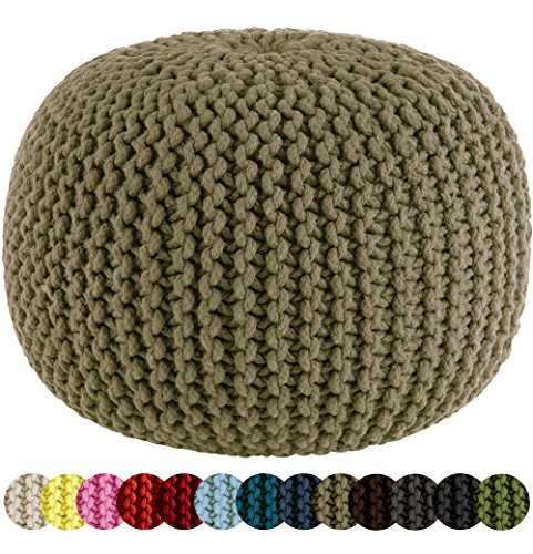 COTTON CRAFT - Hand Knitted Cable Style Dori Pouf - Floor Ottoman - 100% Cotton Braid Cord - Handmade & Hand Stitched - Truly one of a Kind Seating - 20 Dia x 14 High