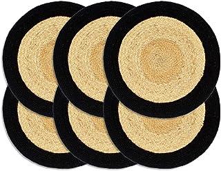 HUANGFINPI Couleur : l et Noir Linge de Table Napperons 6 pcs l et Noir 38 cm Jute et Coton