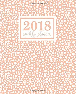 Weekly Planner: 2018 Weekly Planner: Portable Format: Salmon Polka Dots with Gray
