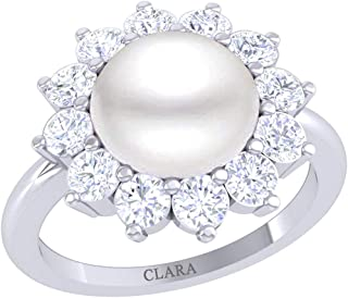Clara 92.5 Sterling Silver Diamond Cut Zirconia Real Pearl Ring Gift for Women and Girls