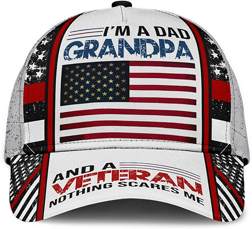 BC4 - I'm A Dad Grandpa and A Veteran Nothing Scares Me Classic Baseball Cap