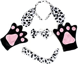 Petitebelle dálmatas perro pajarita diadema cola guantes de disfraces para adultos
