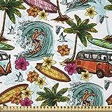 ABAKUHAUS Hawaii Satin Stoff als Meterware, Surfer Thema