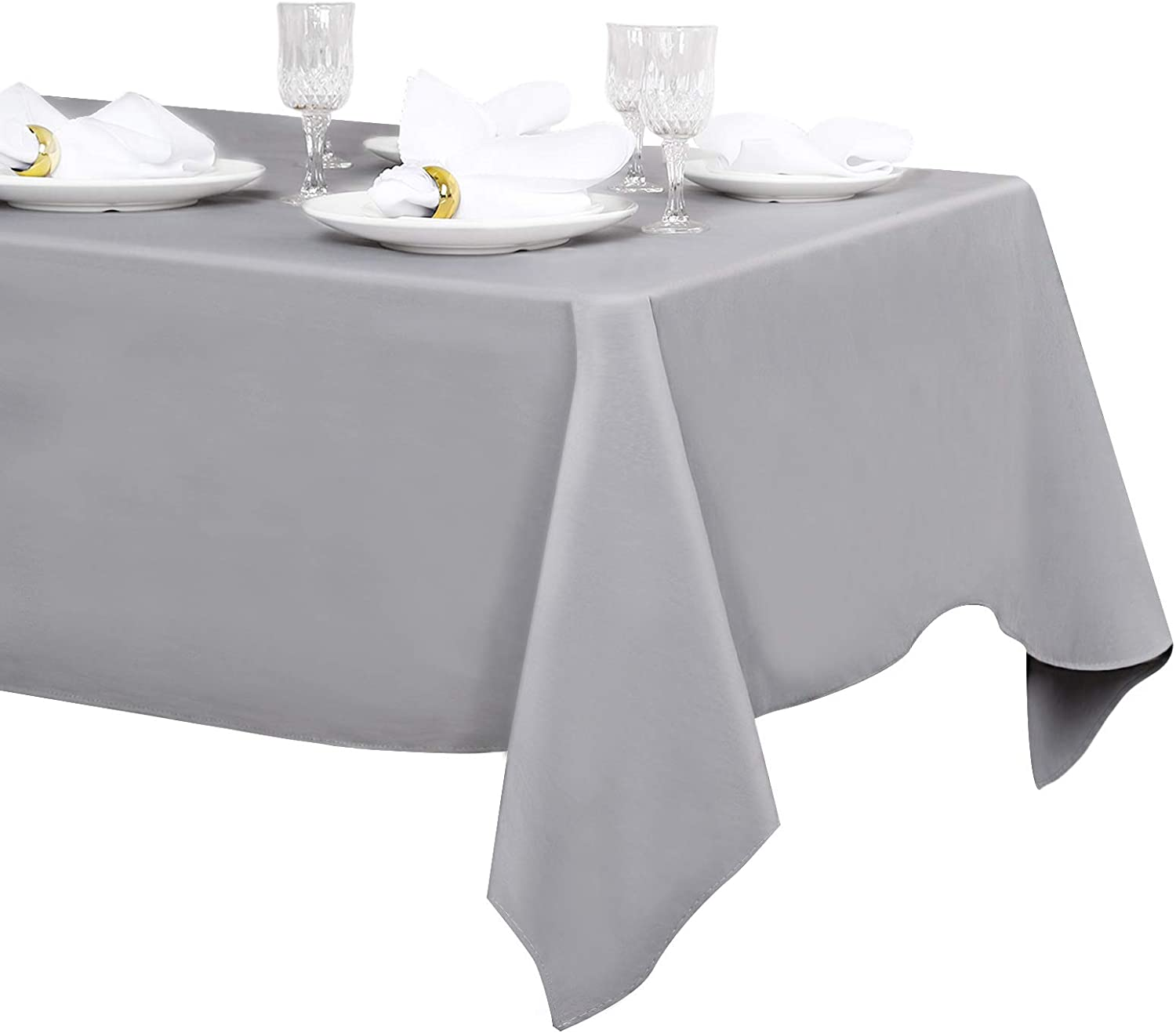LuoluoHouse White Tablecloth Rectangle Table Cover Kitchen Linen 60x102 inch Waterproof Tablecloth Outdoor Table Decoration Wrinkle and Stain Resistant Table Fabric: Home & Kitchen