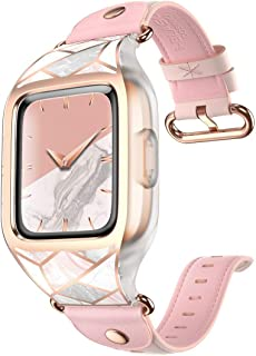 i-Blason Band Designed for Fitbit Versa/Versa Lite/Versa Special Edition Smartwatch, [Cosmo] Stylish Sporty Protective Case (Updated Version) with Adjustable Leather Wristband