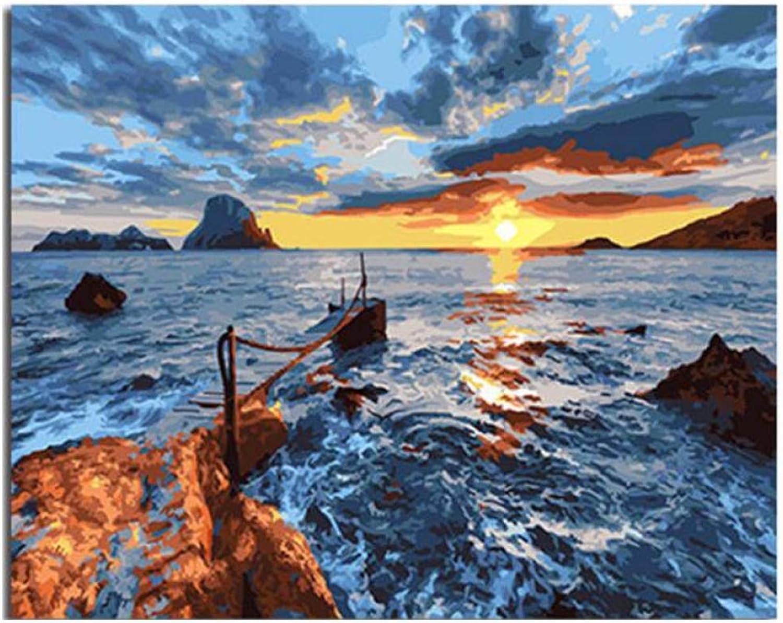 tomar hasta un 70% de descuento QIAISHI Sunrise Sunrise Sunrise Ocean Painting by Numbers Jugara Abstracta Pintura al óleo sobre Lienzo Street Acrílico Arte casero 40x50 CM  tiempo libre