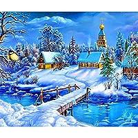 5DダイヤモンドペインティングキットフルドリルフルDiyダイヤモンドペインティングキット雪景色ハウスクロスステッチダイヤモンド刺繡風景パターンラインストーンモザイク家の装飾40x50cm