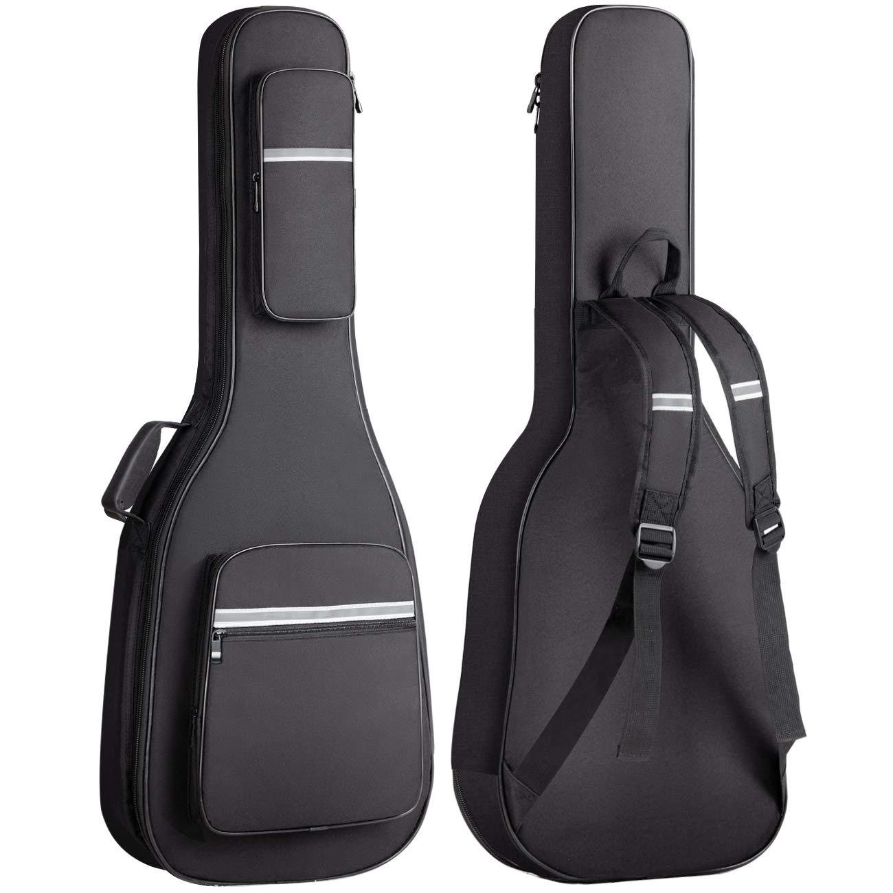CAHAYA Bolsa Guitarra Electrica Acolchada 12mm Funda para Guitarra Electrica con 6 Bolsillos para Libros de Música y Accesorios con Diseño Reflectante: Amazon.es: Instrumentos musicales