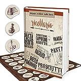 XXL HARDCOVER Italienisches Rezeptbuch zum Selberschreiben RICETTARIO + vintage Aufkleber 164 leere weiße blanko Seiten Kochbuch - Geschenk zum selbst schreiben + Register