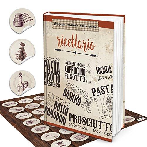 XXL Hardcover Italiaans receptenboek om zelf te schrijven RICETTARIO + vintage sticker 164 lege witte blanco pagina's kookboek - geschenk om zelf te schrijven + register