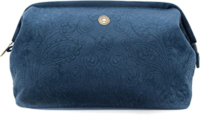 Cosmetic Purse Large Velvet Quilted Dark Blue 26x18x12cm