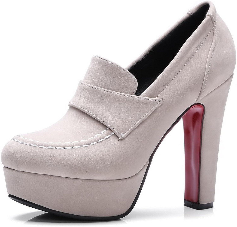 WeiPoot Women's High-Heels Microfiber Soild Round-Toe Pumps-shoes