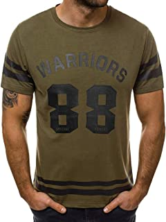 Men's Warriors T-Shirts Casual Slim Fit Short Sleeve Crew Neck Graphic Tops Tees by PERSOLE