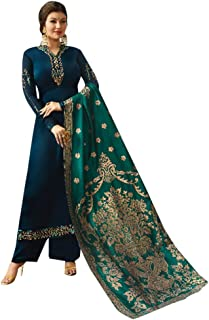 Indian Ethnic Silk Salwar Kameez Suit With Banarsi Jacquard Dupatta Palazzo Muslim style formal party wear 7179