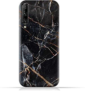 AMC Design Huawei Y9s TPU Silicone Case with Dark Grey and Gold Marble Pattern