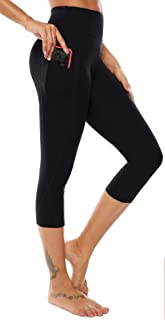 AUU High Waist Yoga Capris Workout Running Cropped Leggings Out Pocket 4 Way Stretch Yoga Pants