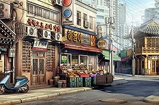 God & Art Giclee Canvas Prints oil Painting Frameless Fine Art Artwork For Wall Decor Korean City(20x30 Inch)