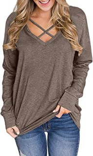 Women V Neck Criss Cross Long Sleeve Sweatshirt
