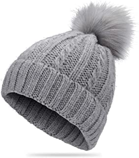 Veluckin Winter Beanie Hat for Women Knit Thick Snow Cuff Cap with Faux Fur Pompom