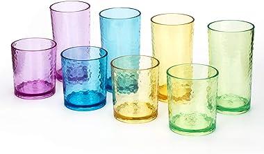 Vasos de plástico acrílicos de 14 onzas y 20 onzas, juego de 8 multicolor, estilo martillado, apto para lavavajillas, sin BPA