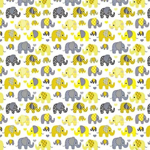 Tela de algodón 100 % para niños, por metros, artesanía, costura, diseño de animales, 100 x 160 cm, 1 metro kleine Elefanten gelb