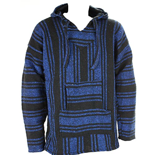 Sudadera con capucha estilo mexicano, diseño hippy, talla S, M, L, XL y XXL, color negro y azul azul Blue and Black Large
