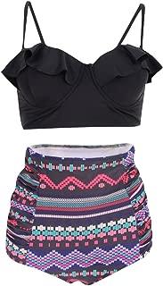 Wiwsi Women Elegant High Waisted Soft Comfortable Bikini Set Swimsuit Swimwear