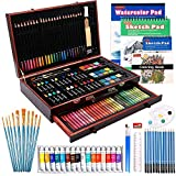 186 Piece Deluxe Art Set, Shuttle Art Art Supplies in Wooden Case, Painting Drawing Art Kit with Acrylic Paint Pencils Oil Pastels Watercolor Cakes Coloring Book Watercolor Sketch Pad for Kids Adults