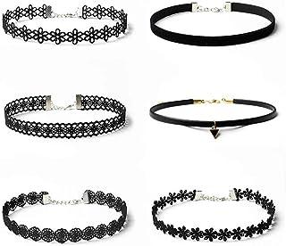 Bobury 6pcs Mujeres Gargantilla Collares de Encaje Negro elástico Gargantilla Collar Conjunto