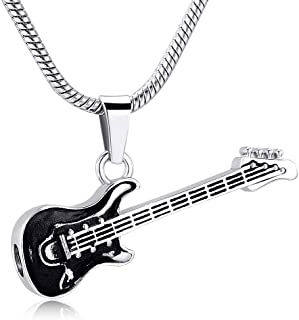 memorial jewelry Musical Instrument Cremation Necklace for Women&Men Guitar Urn Necklace for Ashes
