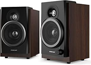 INSMART Computer Speakers Wooden, 2.0 Stereo Volume Control with LED Light 10W USB Powered Mini Speakers for PC/Laptops/Desktops/Phone/Ipad/Game Machine (Brown)