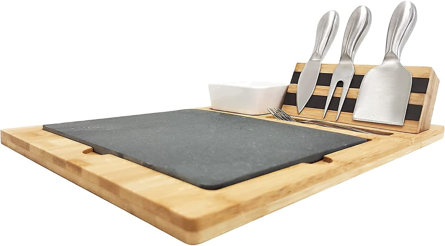 New arrival Mail order Organic Bamboo Wood Cheese Board and Stainless Set 5 Knife Steel