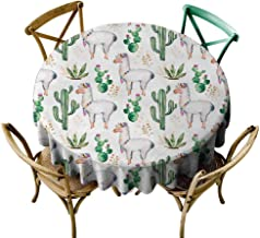 Elvoes Funny Round Tablecloth Fashion Circle Table Cover for Kids - Cactus Hot South Desert Plant Cactus Pattern with Camel Animal Modern Colored Image Print Modern Minimalist 50 Inch