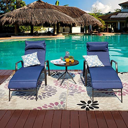 LOKATSE HOME 3 Pieces Outdoor Patio Chaise Lounge...