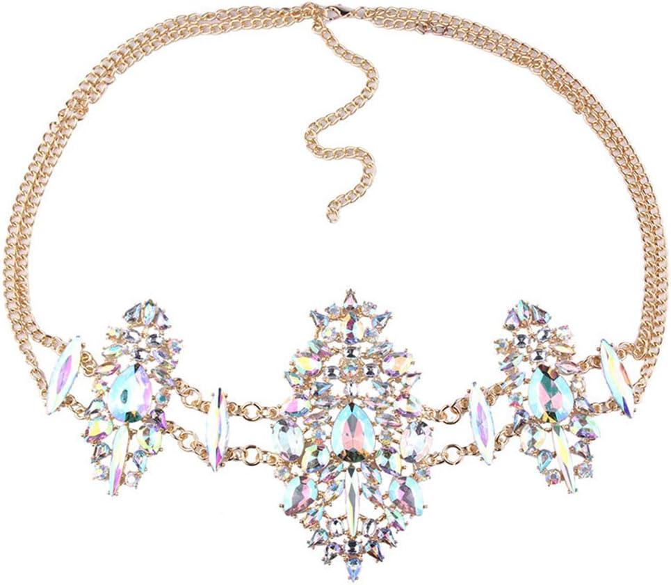 discountstore145 Sexy Cubic Zirconia Inlaid Waist Belly Body Chain Beach Jewelry Bikini Decor for Women Girls Multicolor