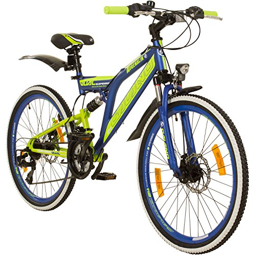 Galano 24 Zoll MTB Fully Adrenalin DS Mountainbike STVZO Jugendfahrrad, Farbe:dunkelblau
