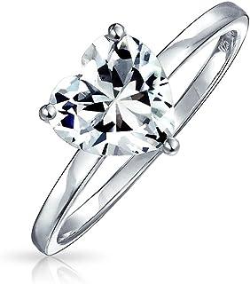 Semplice 2CT AAA CZ Solitario Anello di fidanzamento a forma di cuore Thin Band Promise Ring 925 Sterling Silver per le donne