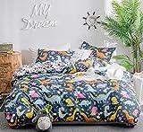 GETIYA 【Último 】 Ropa de cama infantil elegante juego con funda almohada microfibra suave diseño dibujos animados para niños Juego ropa cremallera, Dino-Blau, 135 x 200 + 80 cm