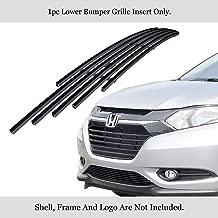 APS Compatible with 2016-2019 Honda HR-V Lower Bumper Stainless Black Billet Grille Insert N19-J51366H