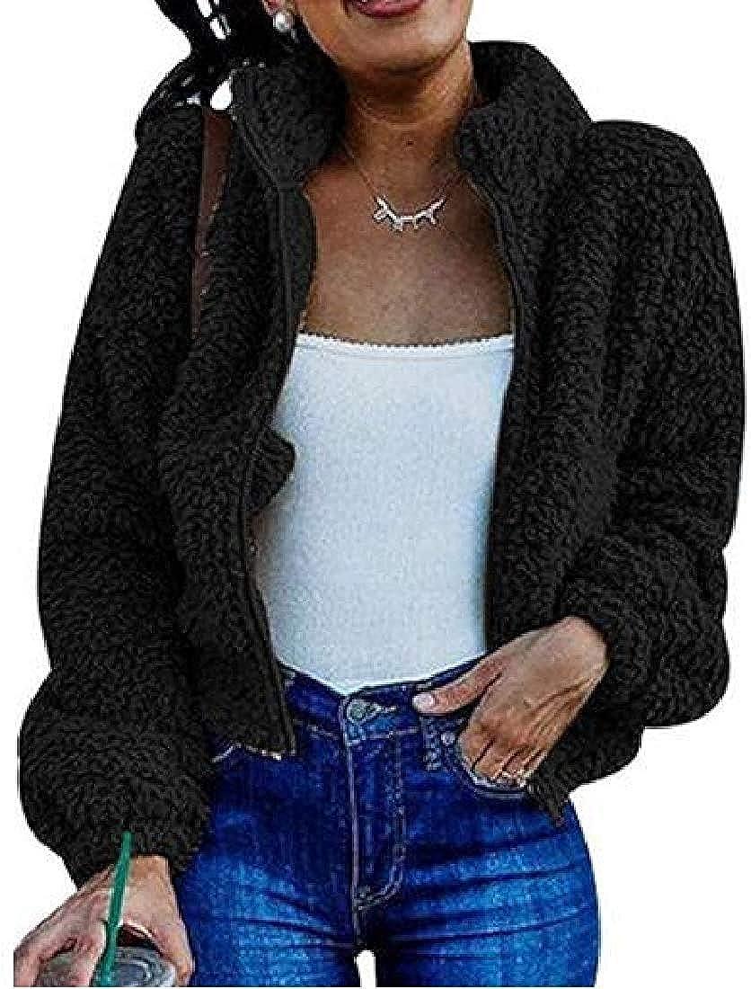 Yhsuk Women Fall Winter Sherpa Fuzzy Fleece Warm Faux Fur Jacket Coat Outerwear