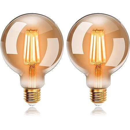 Ampoules LED 6W Edison Vintage G95, Blanc Chaud 2200K E27, Equivalent à Ampoule Incandescente 48W, EXTRASTAR Ampoule Rétro à Filament, Rétro Antique Lampe décorative, Non-Dimmable, Lot de 2.
