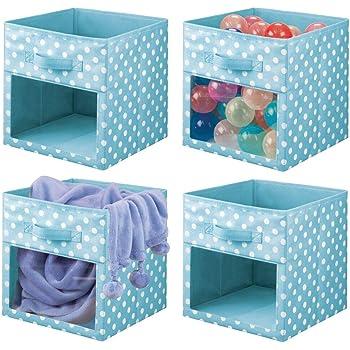 mDesign Juego de 4 cajas organizadoras de tela – Organizador de armario para ropa de bebé, mantas, etc. – Caja de almacenaje de lunares con asa y ventanilla – lunares azul turquesa/blanco: