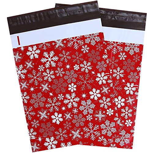 100 Pcs 10x13 Winter Snowflakes Designer Poly Mailers, Ohuhu Christmas Shipping Bags with Self Seal Adhesive, Waterproof and Tear-Proof Postal Bags