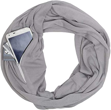 [Thicken] Winter Zipper Pocket Scarves for Women Convertible Infinity ScarfWrap