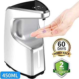 AFMAT Hand Sanitizer Dispenser, Touchless Soap Dispenser, Automatic Wall Soap Dispenser, Kitchen Bathroom Soap Dispenser Hands Free, 15.2 oz Countertop Alcohol Soap Dispenser w/Adjustable Soap Volume