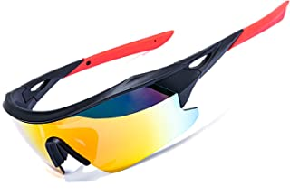 AOKNES Polarized Sports Cycling Glasses Goggles for Men Women with 3 Interchangeable Lenses (Orange)