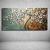 Gbwzz Pittura Ad Olio Dipinto A Mano su Tela,Paesaggio Astratto Textured Dipinti, Fiore di Coltello Bianco Fiori Ciliegio Extra Large Moderno Muro Decorative per Ingresso Soggiorno (90 x 180 cm)