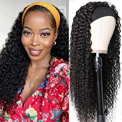 Julia 10A Headband Wigs Curly Human Hair Wigs for Women Glueless Kinky Curly Wigs with Free Headbands,Brazilian Virgin Human Hair Non Lace Front Wig Protective Style Natural Look 150% Density 14Inch