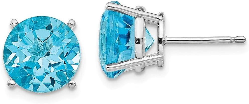 Solid 14k White Gold Blue Topaz Round Stud Earrings 10mm
