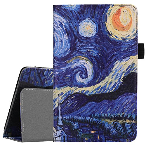 camoworld LG G Pad IV/X2 8.0 FHD Case, LG G Pad F2 8.0 Sprint (LK460) Case, Premium PU Leather Cover [Fit V533 (Canada), GPad X2 8.0 Plus V530 (T-Mobile)] 8-Inch Tablet with Pencil Holder Star Night